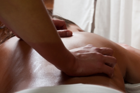 osteopath: osteopathy procedure for examining the spine