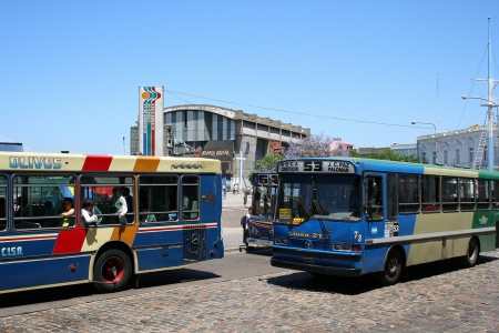 BUENOS AIRES, ARGENTINA - NOVEMBER 13: buses working in La Boca district in Buenos Aires, close to caminito area, on November 13, 2006, in Buenos Aires, Argentina
