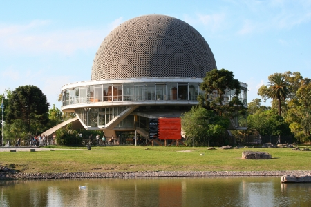 BUENOS AIRES, ARGENTINA - NOVEMBER 14  people going out of the Galileo Galilei in Buenos Aires, an sphere architecture built near of a lake, on November 14, 2006, in Buenos Aires, Argentina Editorial