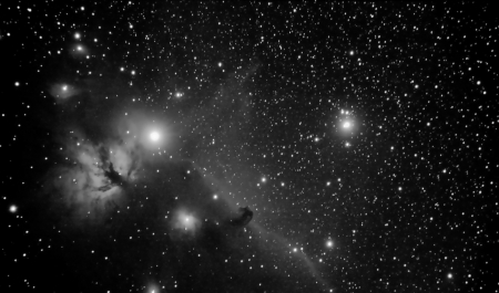 real picture taken by telescope of famous region in orion constellation that includes horsehead and flaming tree nebulaes