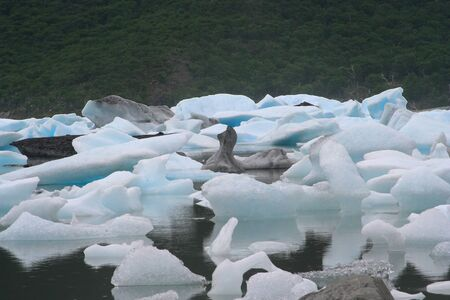 polar climate: small icebergs floating in argentino lake, a conceptual picture related with climate change
