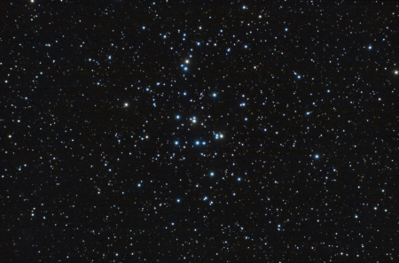 Real astronomic picture taken using telescope, it is an open stars cluster known as praesepe, in cancer constellation Stock Photo