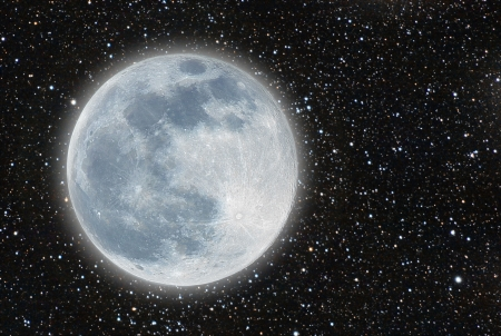 unreal moon over a great starfield photo