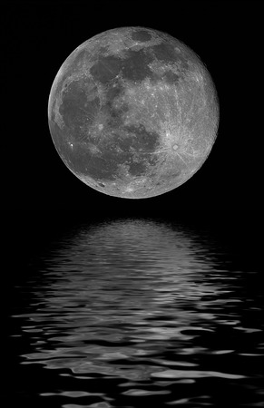 full moon, reflected on water Stock Photo