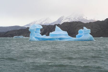 lake argentina: iceberg from a glacier is floating in argentino lake, argentina Stock Photo