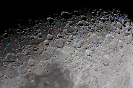real picture of the moon surface taken by telescope, focused in the twilight zone, called as well