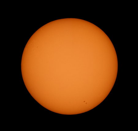 spectre: real picture of the sun surface in visible spectre,  taken with telescope Stock Photo