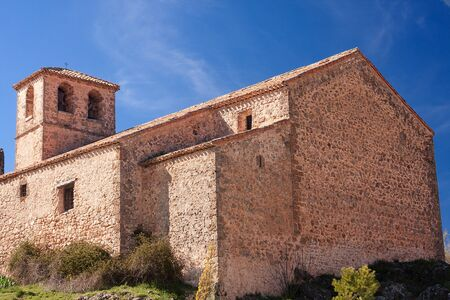 outoors: exterior view of saint spirit church, in old riopar