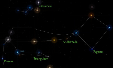 Illustration of main constellations in autumn season, with lines and labels Stock Photo