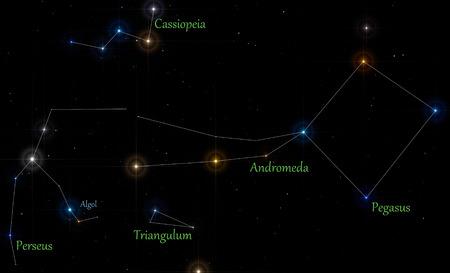 constellations: Ilustraci�n de las principales constelaciones en la temporada de oto�o, con las l�neas y etiquetas