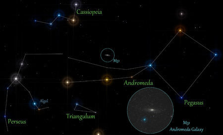 illustration of autumnal constellations and andromeda galaxy location Stock Photo