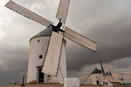 contryside: traditionals spanish windmills, in castilla la mancha, spain
