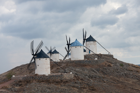 contryside: windmills in consuegra, toledo province, in don quixote route