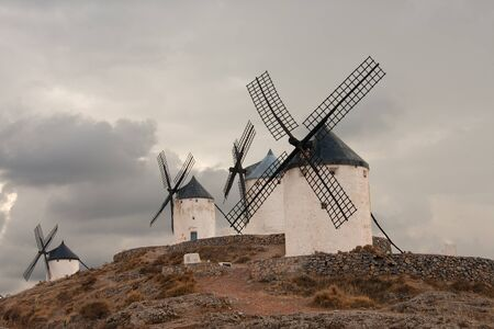 contryside: old spanish windmills, in consuegra town, Toledo, spain