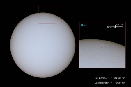 sunspots onthe photosphere of the sun are visible as dark spots, and can be bigger than the earth