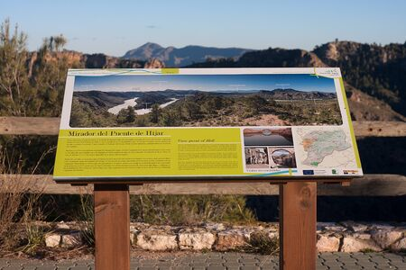 information point: Socovos, Spain - Jan 18, 2016. An information panel giving information of a viewpoint from where can be seen segura river valley in Socovos, Spain
