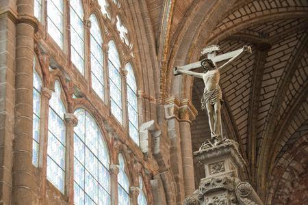 AVILA, SPAIN - APRIL 2016: Christ sculpture in the cathedral of avila, in spain