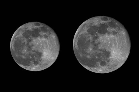 astrophoto: real image of the full moon taken with telescope while it´s in the perigee (14% bigger) and while it´s in the apogee of its orbit. Full moon when coincides with perigee, is called supermoon