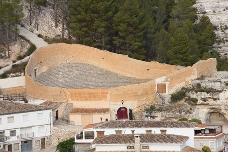bullring: old and uncommon bullring located in alcala del jucar, spain