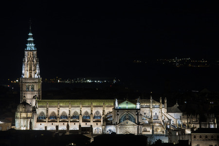 night view of the cathedral of toledo, in spain