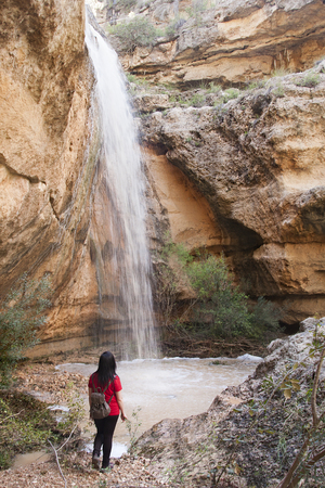 a hiker woman enjoying the view of a waterfall