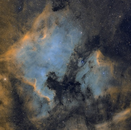 Northamerica and pelican nebulas. Real astronomic picture taken with telescope, of 25 hours of exposure combined in narrowband. Reklamní fotografie