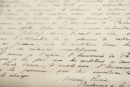 Marie Curie´s handwritten manuscript about her research on radioactivity. Curie museum, Paris - 23 June 2018 Editorial