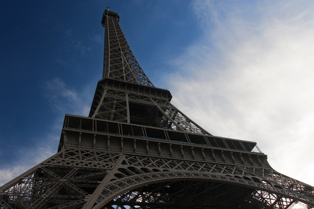 low angle perspective of eiffel tower