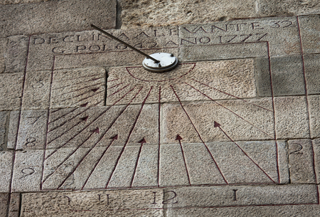 a sundial in barcelona castle, facing not south but east Standard-Bild - 120024439