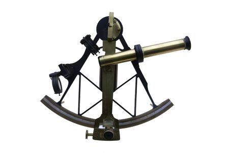 ancient sextant used in old times to navigate, isolated on white Archivio Fotografico