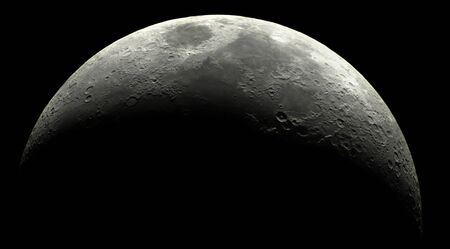 surface of the crescent moon at 15% illuminated, seen by telescope Standard-Bild