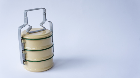 tiffin: Tiff-in Antique or Food carrier of Thailand. Stock Photo