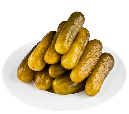 pickled: pickled cucumbers in white plate