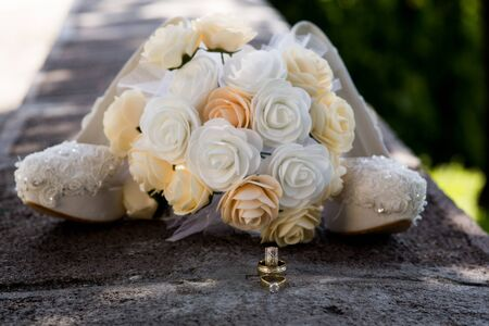 Wedding Rings and Bride Flowers, Marriage Icon 版權商用圖片