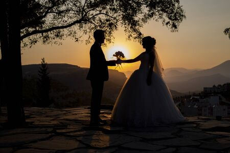 Bride and Groom Sunset Marriage