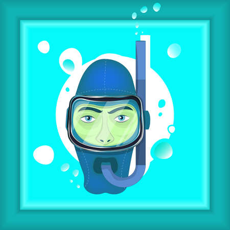 the picture of the diver in the blue ocean Illustration