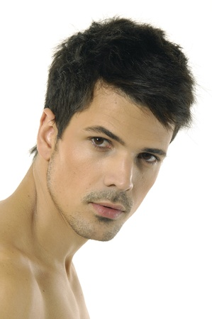 belleza masculina: Apuesto joven mirando hacia arriba