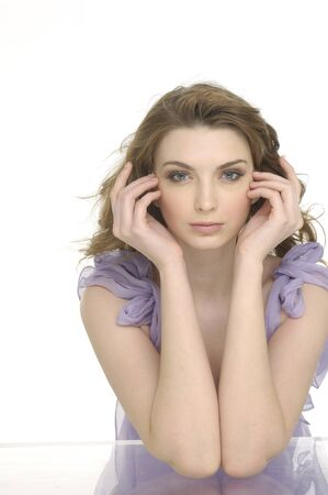 Beautiful girl with health skin of face