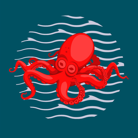 Cartoon illustration of red octopus in water. Blue background with waves forming a circle.