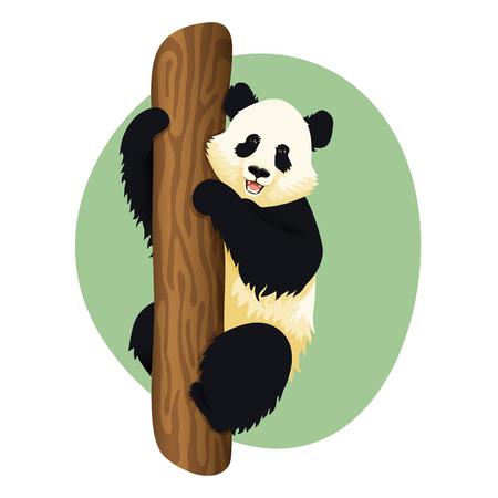 Ilustración de panda gigante sonriente trepando a un árbol. Panda lindo sentado en un árbol que se aferra al tronco. Ilustración de vector