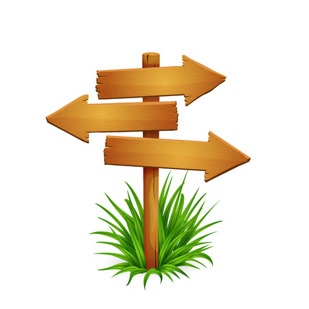 Illustration of rickety wooden arrow signpost with arrows pointing in different directions with grass isolated on white background.