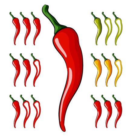 Cartoon illustration of red hot chili pepper.