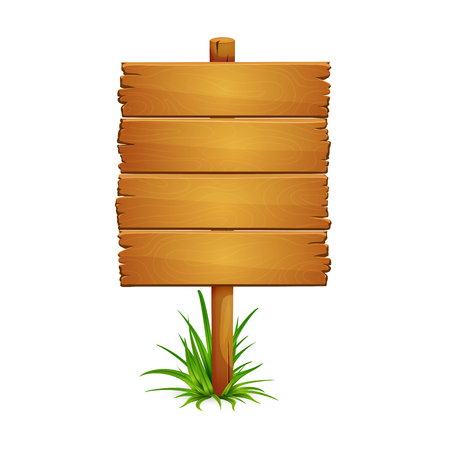 Illustration of large wooden plank signpost with bunch of grass isolated on white background. Sighboard is made of four planks. Ilustração Vetorial