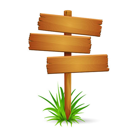 Illustration of old rickety signpost with bunch of green grass isolated on white background. Blank space for text. Ilustração