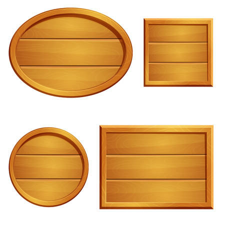 Illustration of set of wooden plank signs with frames on white background. Round, oval, square and rectangle.