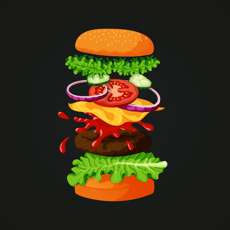 Vector illustration of a burger separated into layers showing ingredients: sesame topped bun, lettuce, meat patty, cheese, tomato slice, red onions, fresh cucumbers and tomato ketchup on a dark background.  イラスト・ベクター素材