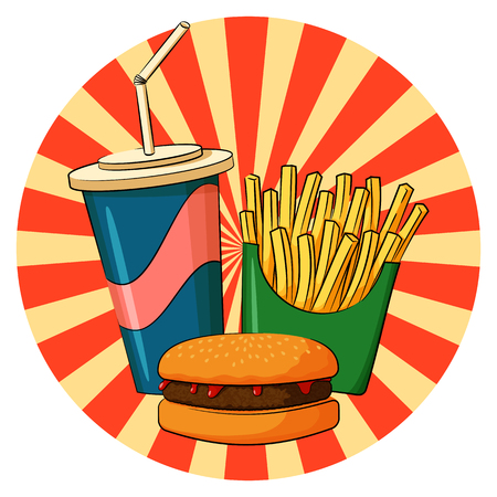 Vector illustration of fast food lunch. Hamburger, french fries and soda drink.