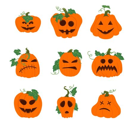 Set of halloween vector icons with funny faces. Simple orange pumpkins with vines and leaves isolated on white background. Different shapes. Autumn holidays. Illustration