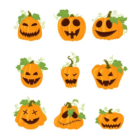 Set of halloween vector icons with funny faces. Simple yellow pumpkins with vines and leaves isolated on white background. Different shapes. Autumn holidays. Stock Vector - 133518939