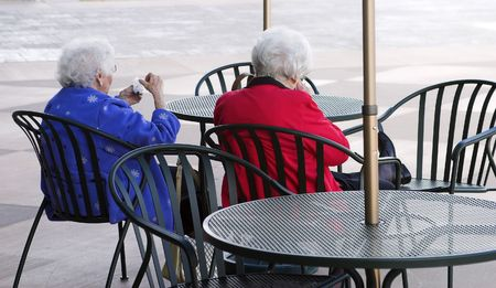 brisk: Elderly ladies enjoying a brisk morning